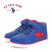U.S. POLO ASSN.美国马球协会 保罗反绒休闲板鞋高帮运动鞋男女童靴子