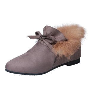 WARORWAR新品YM29-9723冬季日系磨砂反绒低跟真兔毛蝴蝶结女士靴子马丁靴短靴