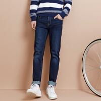 美特斯邦威旗下 4M牛仔长裤男秋显瘦黑色直筒裤子牛仔裤