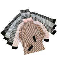 秋冬女装韩版修身显瘦百搭高领长袖条纹加绒加厚打底衫T恤上衣潮 均码
