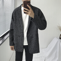 2017新款风衣男士韩版学生日系潮流宽松帅气潮牌大衣外套