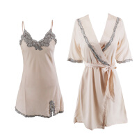 性感睡衣睡裙女秋情趣诱惑两件套短袖睡袍家居服吊带睡裙套装冬季