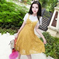 夏装韩版修身百搭短袖T恤+镂空蕾丝吊带连衣裙女两件套裙子潮