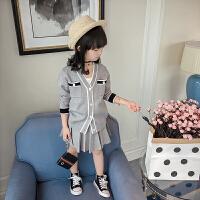 女童春装2018新款韩版儿童学院风长袖针织套装春秋裙子洋气两件套0864 灰色