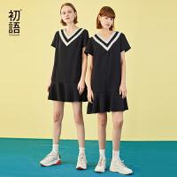 初语2019夏装新款海军风撞色V领荷叶边流行裙子女宽松学生连衣裙