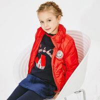 【1件3折到手价:77.97】米喜迪mecity童装冬女童红色面包立领短款羽绒服90%白鸭绒