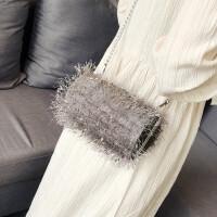 水桶小包包女2018新款潮韩版秋季毛毛链条斜挎单肩包