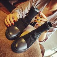 欧洲站秋季新款真皮短靴女英伦风显瘦中筒靴学生女鞋侧拉链女靴子