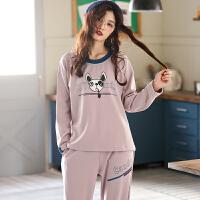 可外穿睡衣女秋季长袖韩版休闲家居服春秋款全棉套装套头运动
