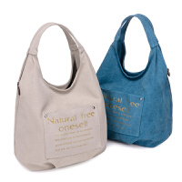 新款韩版潮帆布包女包手提包单肩包斜跨包时尚简约女士包水桶包包