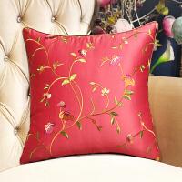 新中式沙发抱枕靠垫57中国风古典绣花靠枕套办公室靠背汽车腰浅蓝
