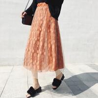 春夏秋冬季休闲高腰蕾丝裙半身裙女宽松显瘦长裙a字裙蕾丝裙