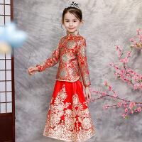 中式儿童礼服女公主裙长袖中国风新年童装礼服裙秋冬小花童礼服女 红色