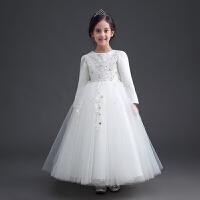 儿童礼服婚纱裙钢琴表演服女童蕾丝长袖公主裙蓬蓬裙花童礼服女春3645