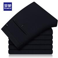 Romon/罗蒙男士休闲裤中青年春季商务西裤男大码针织裤修身西装裤