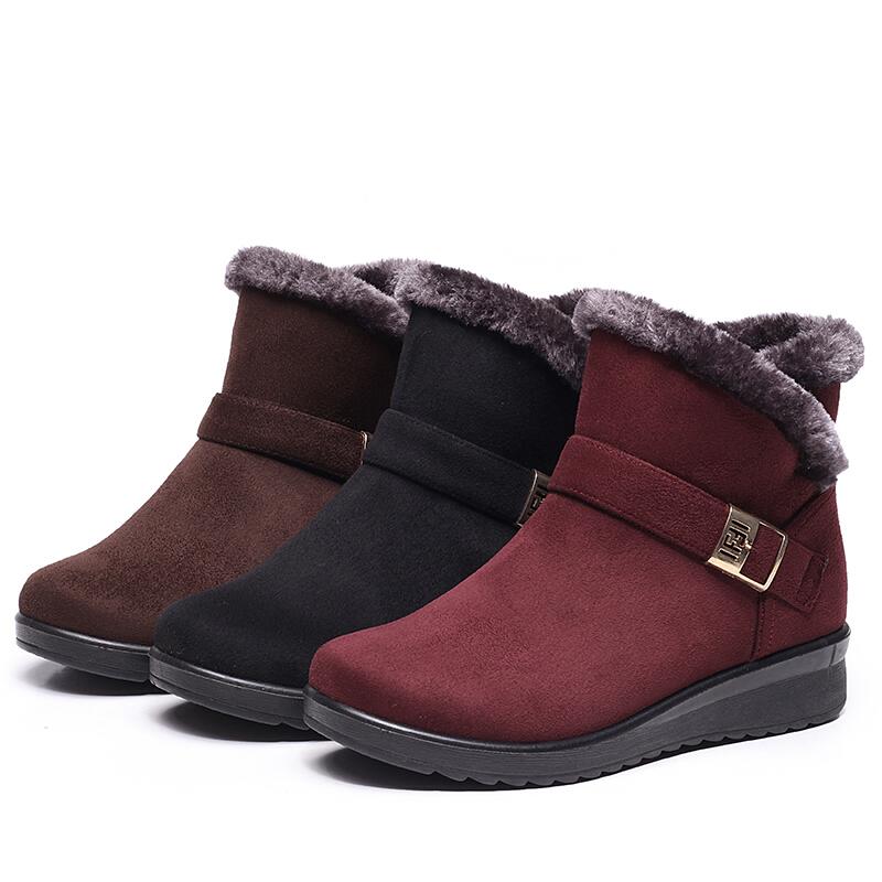 冬季妈妈鞋棉鞋中老年女鞋平底加厚保暖防滑老人雪地靴中年短靴女软底 黑色 7101毛边搭扣棉鞋