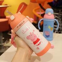 新款卡通可爱儿童吸管杯 不锈钢手柄背带两用便携带保温饮水果汁杯