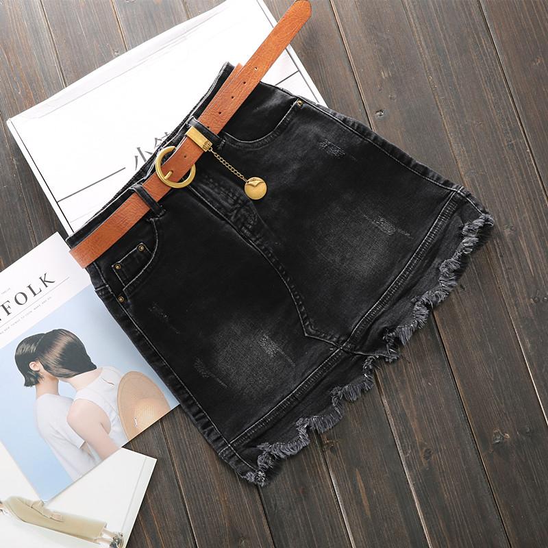 牛仔半身裙女2018春夏新韩版黑色弹力高腰包臀短裙毛边性感一步裙 黑色 送腰带 发货周期:一般在付款后2-90天左右发货,具体发货时间请以与客服协商的时间为准