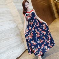 沙滩裙女2018夏新款泰国风情裙子吊带连衣裙海边度假长裙 花色