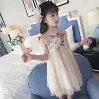 女童连衣裙子春秋夏季女孩衣服韩版洋气夏天夏装潮衣夏季背心裙 米白色