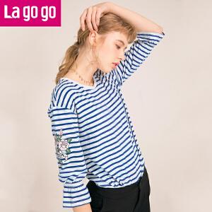 Lagogo2018夏季新款条纹九分袖海魂衫圆领套头上衣印花百搭T恤女HATT413Y08