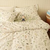 ???纯棉小清新小碎花被套宿舍三件套学生床单1.8m1.5m全棉床上四件套 2.0m(6.6英尺)床 床单式
