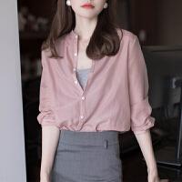 UM丝光质感的灰粉色小立领衬衣女复古简约气质长袖设计感小众上衣
