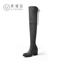 青婉田2018新款高筒长筒靴女过膝长靴弹力靴女靴春单靴高跟粗跟