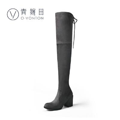 青婉田2018新款高筒长筒靴女过膝长靴弹力靴女靴春单靴高跟粗跟尺码正常,脚感舒适,弹力布,可选加绒