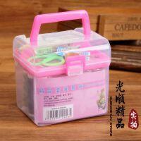 方形手提针线盒 便携家用百宝箱 盒装针线套装