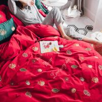 新品秋冬季保暖全棉磨毛婚庆圣诞节四件套刺绣加厚1.5m1.8米纯棉床品 冬日阳光-圣诞
