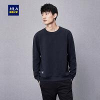 HLA/海澜之家经典圆领卫衣2018秋季新品舒适提花休闲男士卫衣