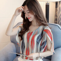 短袖女2018新款韩版时尚印花洋气小衫夏季宽松雪纺上衣百搭雪纺衫