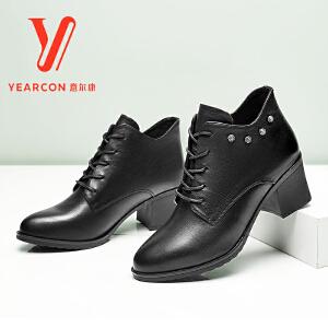 意尔康女鞋2017冬季新款圆头粗跟短靴高跟系带单靴中跟马丁靴女靴