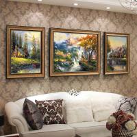 客厅装饰画沙发背景墙挂画美式墙画餐厅画简欧山水风景画欧式油画 左右46*60 中间76*60