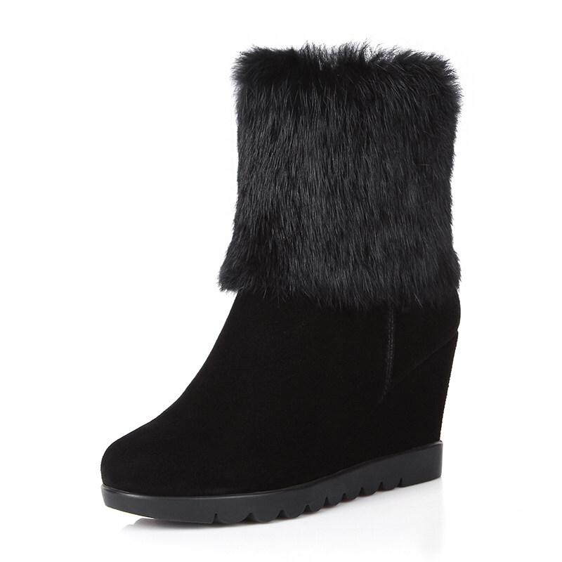 加绒坡跟短靴子女士真皮鞋子雪地棉靴内增高圆头毛毛高跟鞋秋冬季 黑色(长绒)