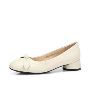 Camel/骆驼女鞋 秋季新品真皮优雅大方舒适蝴蝶结粗跟女单鞋