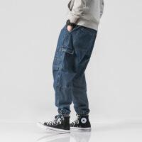 日系复古多口袋水洗做旧牛仔裤抽绳工装束脚休闲裤潮宽松直筒裤