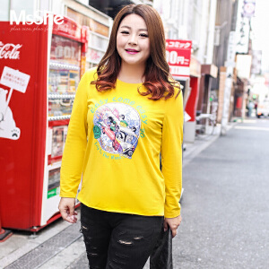 MsShe加大码女装2017新款秋装200斤卡通印花长款针织T恤M1740252