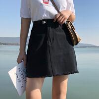 高腰不规则A字裙毛边牛仔半身裙女春季新款韩版百搭显瘦学生短裙