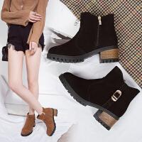 女式 秋冬新款绒面女短靴厚底低跟马丁靴平底拉链短筒女靴及裸靴
