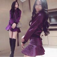 秋冬新款休闲运动长袖卫衣高腰显瘦包臀鱼尾短裙两件套装女 紫色