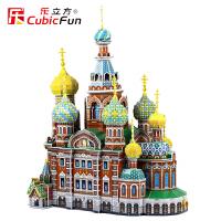 乐立方3D立体拼图瓦西里升天大教堂DIY建筑纸模型