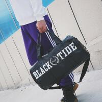 短途旅行包男健身包运动包女瑜伽包圆筒斜挎包训练包出差行李包潮 黑色关注店铺送洗漱包 中