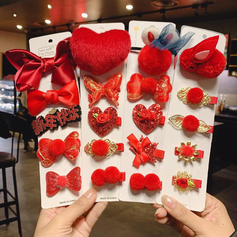 糖果公主儿童新年中国风格格头饰女童发饰毛球流苏发夹红色发卡小女孩饰品