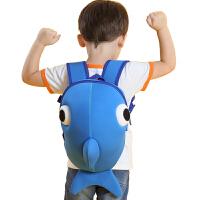 婴幼儿园儿童小书包1-3-5岁女童可爱卡通男宝宝防走失背包 鲸鱼蓝色(大号) 适合3-6岁