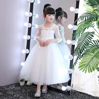 2018新款花童婚纱礼服女童公主裙长裙主持人礼服蓬蓬裙钢琴演出服 白色