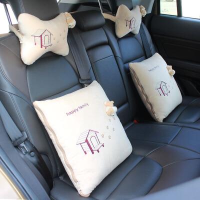 汽车抱枕被子两用四件套毛绒卡通头枕车用空调被靠垫被车内靠枕被 包括2个头枕+2个抱枕被