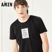 森马旗下Aiken短袖T恤男士夏装新款潮牌字母印花圆领半袖体恤上衣
