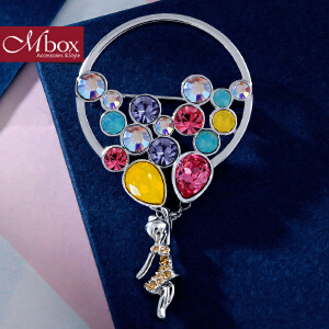 新年礼物Mbox胸针 女韩国版采用施华洛世奇元素水晶高档胸针胸花 告白气球